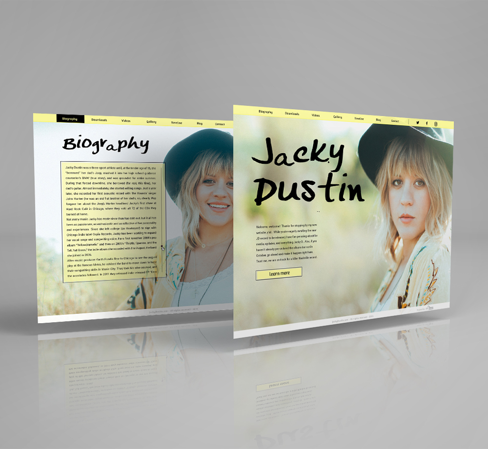 Web Design & Development For Artist Jacky Dustin - Solo Musician